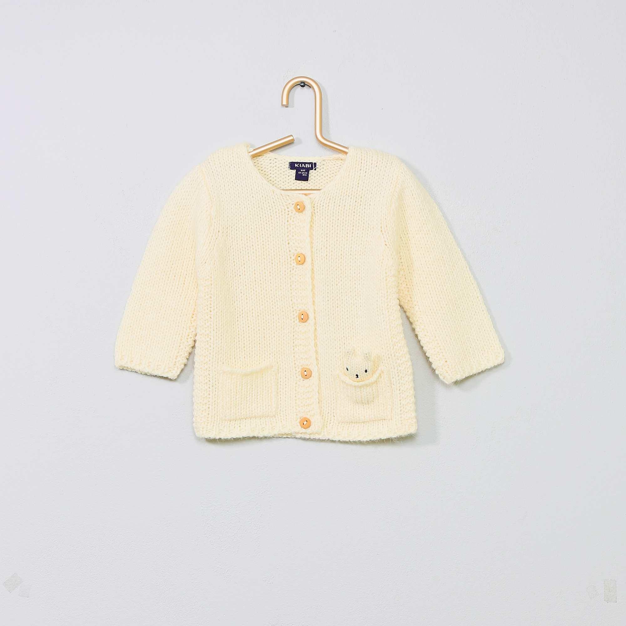 Casaco Bebê Básico Malha Branco Com Botões nas Lojas