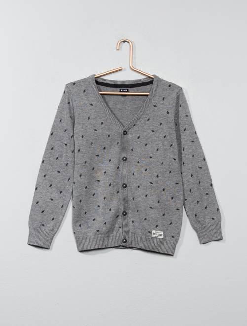 Casaco decote em V puro algodão gris Menino 3-12 anos