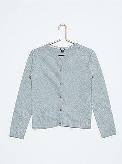Camisola, casaco - Casaco em algodão malha fina com pormenor brilhante
