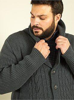 Camisola, casaco - Casaco em malha com gola tipo xaile