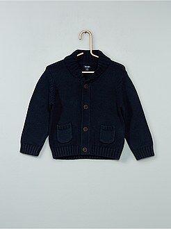 Menino 0-36 meses - Casaco estilo cardigan em malha mesclada - Kiabi