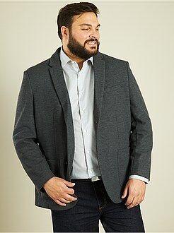 Homem tamanhos grandes Casaco estilo lã com corte direito