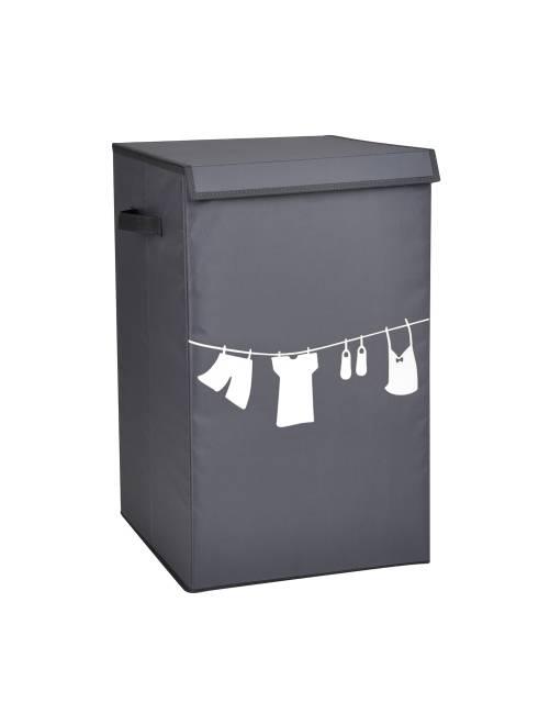 Cesto da roupa em tecido estampado                             cinza