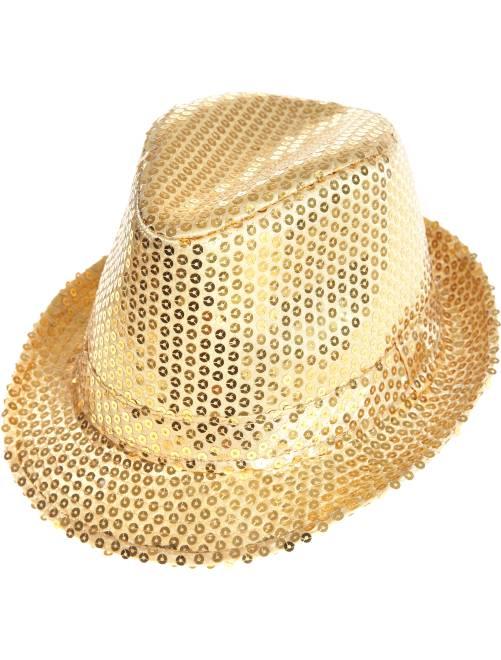 Chapéu borsalino com lantejoulas                                                     Dourado Acessórios