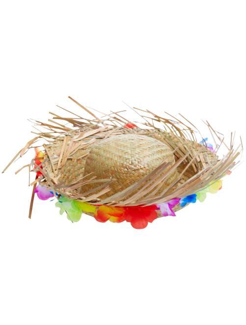 Chapéu de palha com flores do Havai                             bege