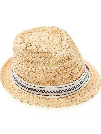 Menino 3-12 anos - Chapéu de palha com forma borsalino - Kiabi