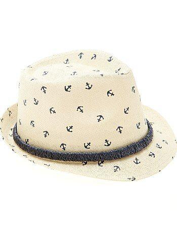 Chapéu de palha tipo panamá estampado - Kiabi