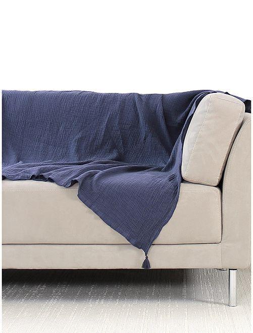 Cobertura de sofá em gaze de algodão                                         Azul Marinho