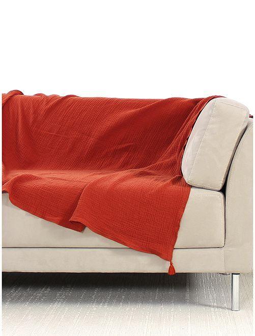 Cobertura de sofá em gaze de algodão                                         LARANJA