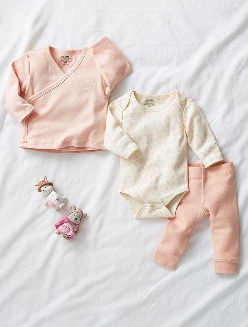 Conjunto babygro, casaco e leggings de conceção ecológica                                                     BRANCO