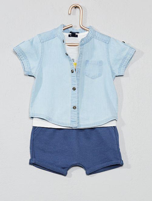 Conjunto camisa, t-shirt e bermudas                             Branco Menino 0-36 meses