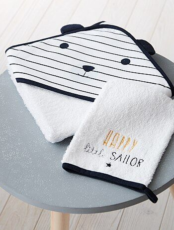Conjunto capa de banho e luva a condizer 'Panda' - Kiabi
