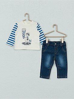 Menino 0-36 meses - Conjunto de 2 peças: calças de ganga + t-shirt - Kiabi
