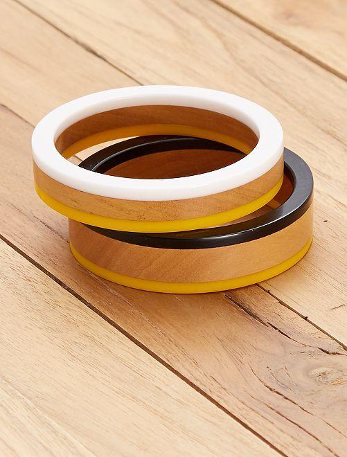 Conjunto de 2 pulseiras redondas                                         Amarelo/ Branco Mulher do 34 até 48