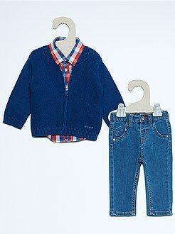 Conjunto, body - Conjunto de 3 peças colete + calças de ganga + camisa