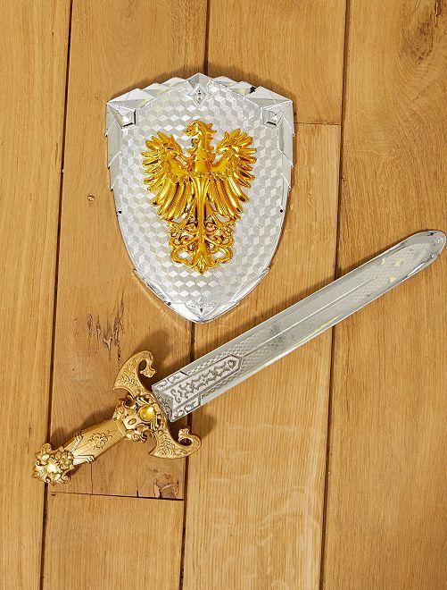 Conjunto de espada e escudo de cavaleiro                             gris Criança