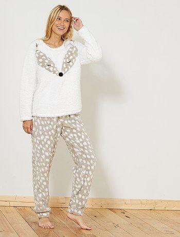 Conjunto de pijama em material sherpa - Kiabi
