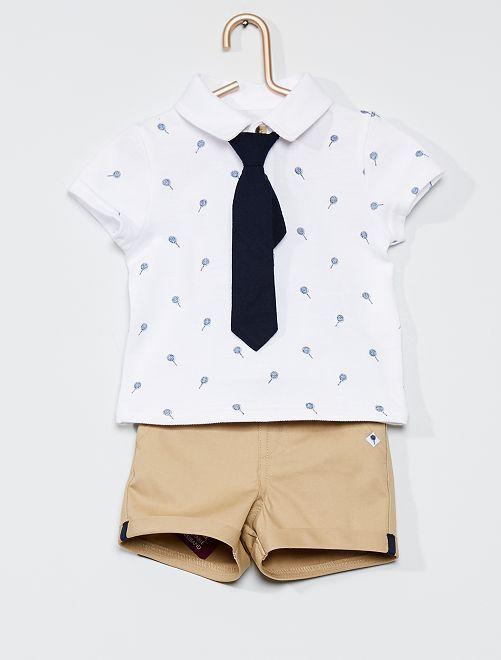 Conjunto polo + calções + gravata                             BRANCO