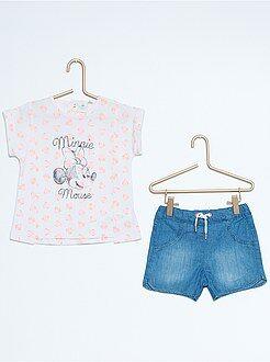 Denim - Conjunto t-shirt + calções 'Minnie'