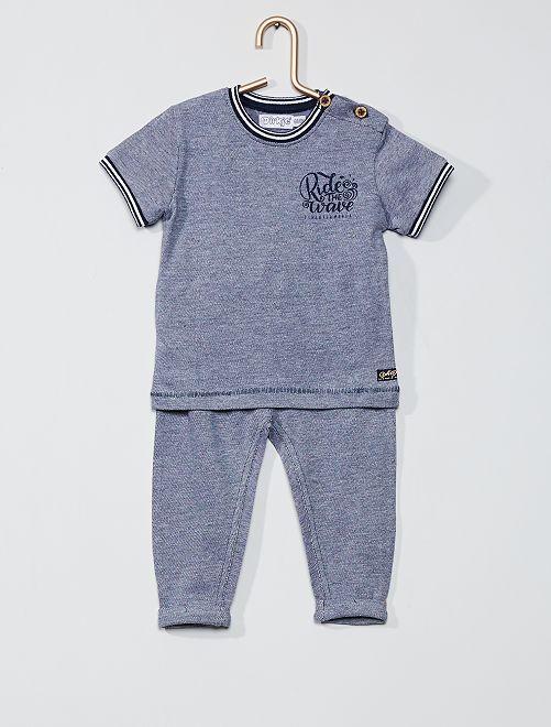Conjunto t-shirt e calças em malha piqué                             Azul