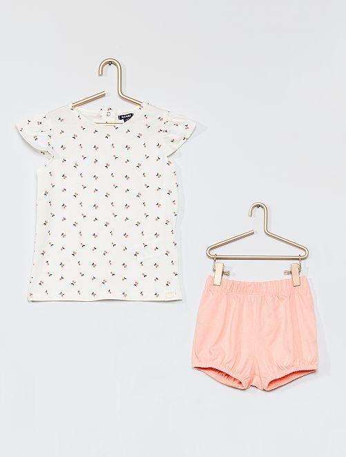 Conjunto t-shirt e calções                             BRANCO