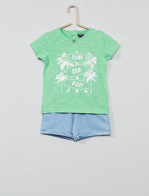 Conjunto t-shirt 'surf' + bermudas                             Verde Menino 0-36 meses