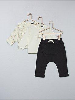 Conjunto, macacão - Conjunto t-shirt, sweatshirt e calças - Kiabi