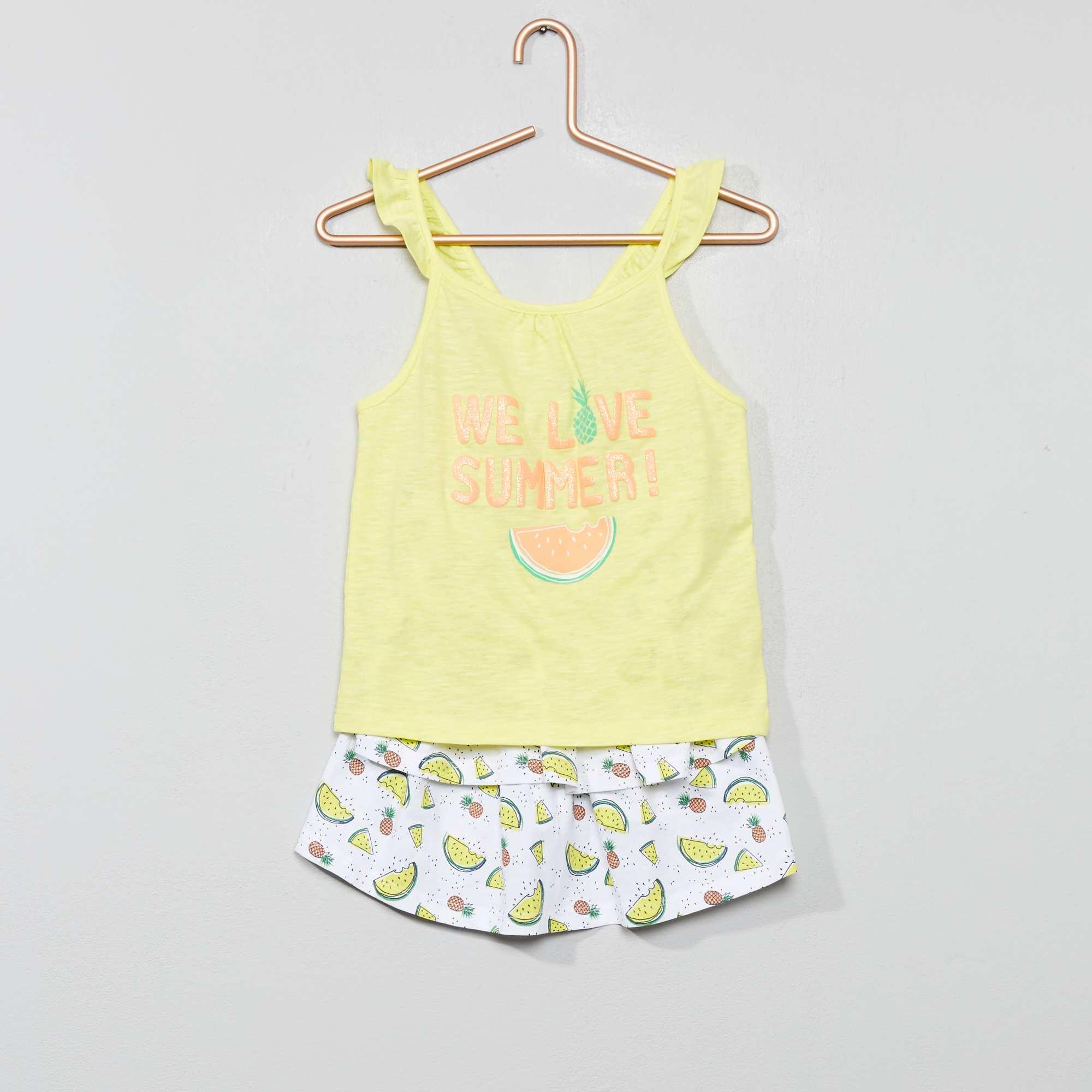 f05228f5a Conjunto top + saia com folhos Amarelo  Branco Menina 3-12 anos. Loading  zoom