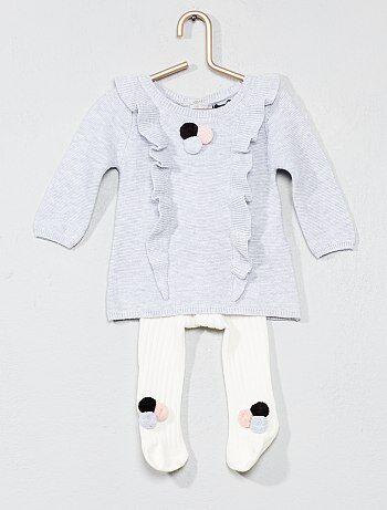 Conjunto vestido + collants com pompons - Kiabi