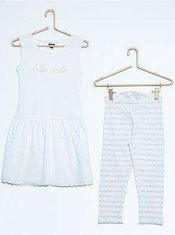 Conjunto - Conjunto vestido de alças bi-matéria + leggings