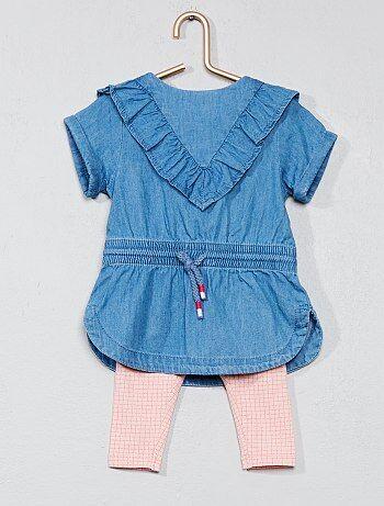 Conjunto vestido de ganga + leggings - Kiabi