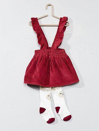 Conjunto vestido em bombazina e collants - Kiabi