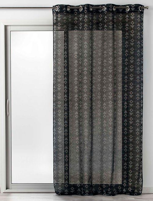 Cortinado transparente com estampado 'letiko'                                         Preto
