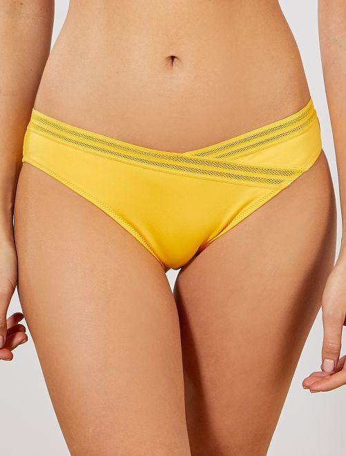 Cuecas de fato de banho com pormenores ajurados                                                     Amarelo Mulher do 34 até 48