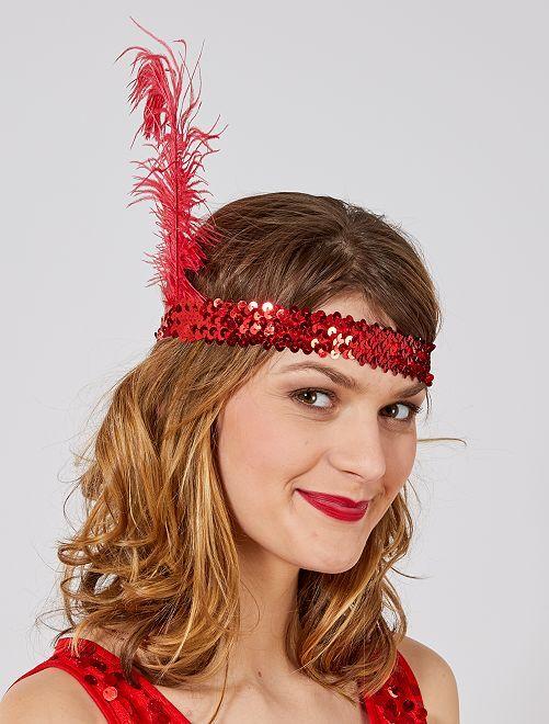 Faixa lantejoula e pluma 'Charleston'                                                     rojo