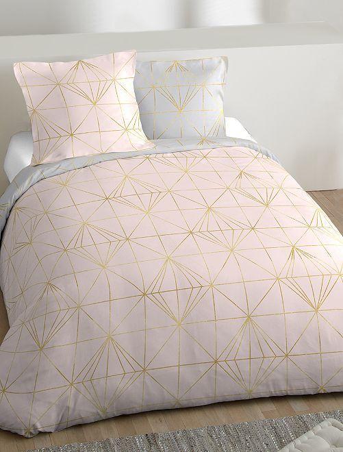Jogo de cama de casal com estampado geométrico                             Rosa Casa