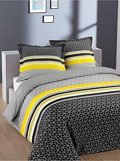 Jogo de cama de casal em algodão 'geométrico' - Kiabi