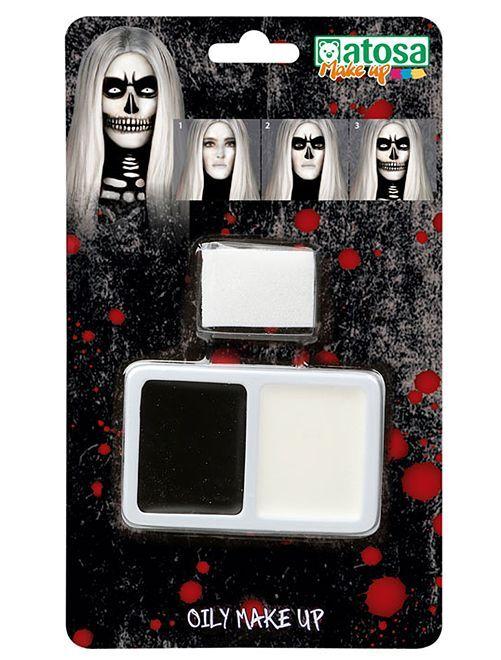 Kit de maquilhagem esqueleto                             Preto/ Branco
