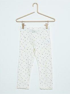 Legging - Leggings 3/4 em algodão elástico com renda