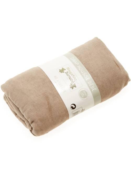 Lençol-capa liso para cama de bébé                                                                                         beige Menino 0-36 meses