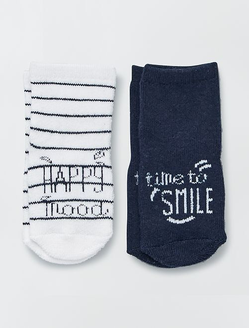 Lote 2 pares de meias em malha borboto                                         AZUL