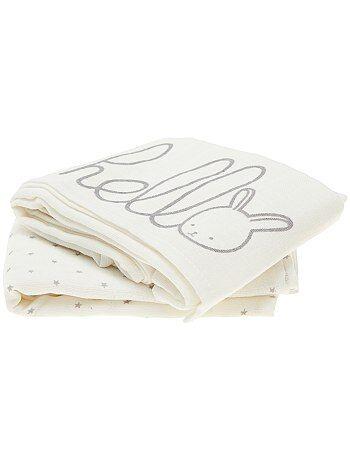 Lote de 2 fraldas em puro algodão biológico - Kiabi