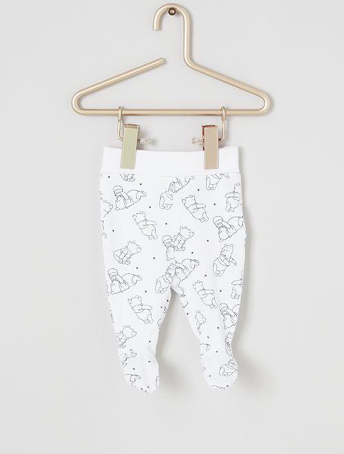 Lote de 2 leggings 'Winnie the Pooh' de conceção ecológicas                                         BRANCO