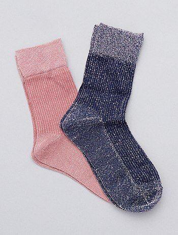 Lote de 2 pares de meias brilhantes - Kiabi