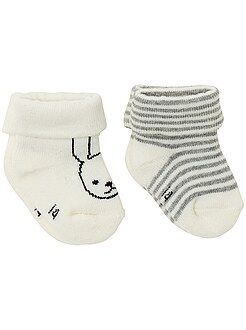 Meias, collants - Lote de 2 pares de meias com motivo fantasia - Kiabi