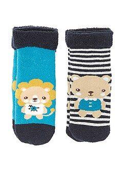 Meias - Lote de 2 pares de meias em malha de borboto 'animais'