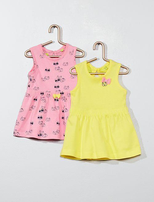 Lote de 2 vestidos 'gato'                                         ROSA Menina 0-36 meses