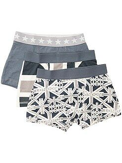 Roupa interior - Lote de 3 boxers em algodão elástico estampado 'bandeiras' - Kiabi