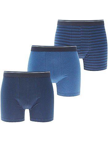 Lote de 3 boxers long fit de algodão elástico - Kiabi