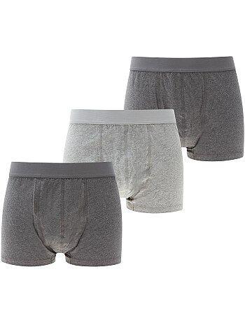 Lote de 3 boxers matizados lisos de tamanho grande - Kiabi